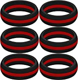 SayitBands Six (6) of New Thin Red Line Silicone Ring Size 12