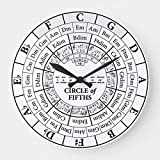 OSWALDO Circle of Fifths White Round Decorative Round Wooden Wall Clock - 12 inch