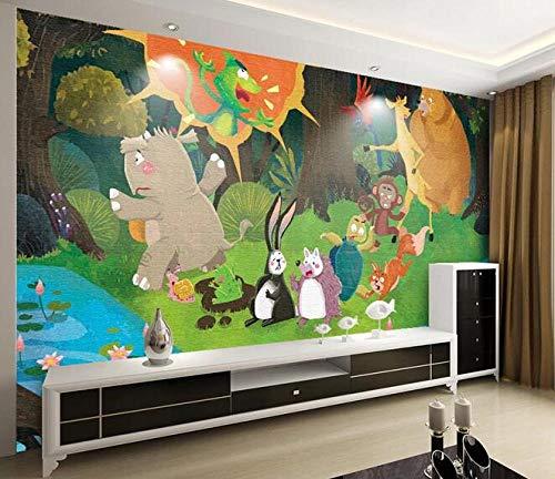 Wallpaper 3D Comic Rhino Animal Crossing The River Poster Children's Room Cartoon Mural 300cmx210cm(118.1x82.7inch) PVC Wallpaper Wall Covering Wallpaper Non-Woven Fabric Wall Sticker