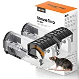 INSEGO Humane Mouse Traps, Catch & Release Mouse Traps Easy to Set & Safe for Children/Pets, Reusable Live Mouse Trap No-Kill for Indoor/Outdoor Use for Small Rodent//Mice/Rat Catcher-2 Pack(L)