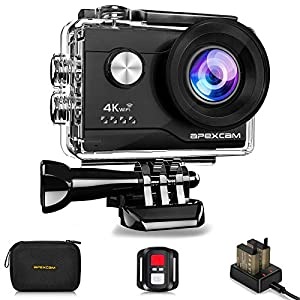 Apexcam 4K 20MP WIFI Action Camera Underwater Waterproof Camera Sports Camera Camcorder Ultra HD 40M 170°Wide-Angle 2.4G Wireless Remote Control 2.0'' LCD Screen 2x1050mAh Rechargeable Batteries and Accessories Kit