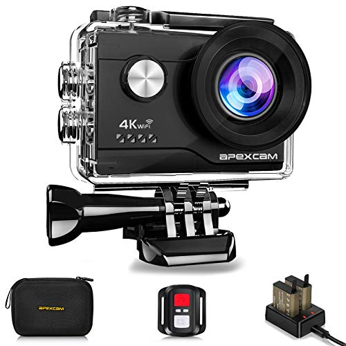 Apexcam 4K Action Camera 20MP 40M Waterproof Sports Camera for Vlog With Ultra HD 170°Wide-Angle 2.4G Remote Control 2 Rechargeable Batteries 2.0'' LCD Screen and Accessories Kit