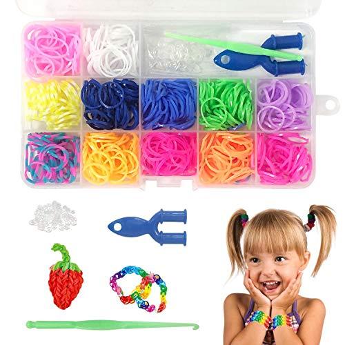 BoloShine Loom Bänder Set, Bunt Loom Bands Starter Box, Regenbogen DIY Gummibänder Armband Schmuck Zubehör mit Webrahmen und Haken für Kinder Geburtstagsgeschenk