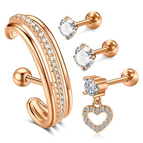 Rajnard Piercing Helix Cartilage Ear Piercing para Hombres Mujeres CZ Barbell Piercing Tragus 16G 4pcs Rose Gold