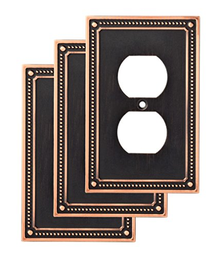 Franklin Brass W35059V-VBC-C Classic Beaded Single Duplex Wall Switch Plate/Cover, 3-Pack, Bronze with Copper Highlights