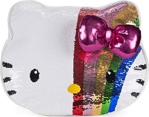Hello Kitty Coussin en peluche à paillettes arc-en-ciel changeant de couleur.