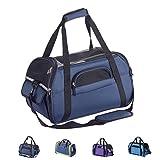 Zedelmaier Faltbare Hundetasche, Hundetragetasche, Katzentragetasche, Transporttasche Transportbox für Hunde und Katzen (M - 43 x 23 x 29 cm, Marineblau)