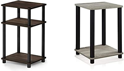 FURINNO Just 3-Tier End Table, 1-Pack, Columbia Walnut/Black & Turn-N-Tube Haydn End Table, 1-Pack, French Oak Grey/Black