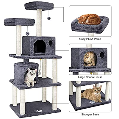 BEAU JARDIN Cat Tree for Large Cats Condos and Towers for Big Cats with Perch and Condo Cat Tree House with Scratching Post Cat Activity Scratch Trees Climbing Tower Kitty Condos
