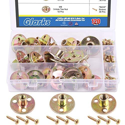 Glarks 120Pcs M6 M8 M10 Brad Hole Tee Nut with Screws Assortment Set Zinc Plated Carbon Steel 3-Hole T-Nuts Furniture Hardware Flange Insert Female Thread for Wood Furniture