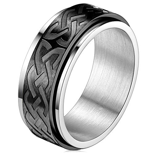 FaithHeart Male Band Rings Black Stainless Steel Celtic Knot Ring Stress Relief Jewelry Size 11 Black