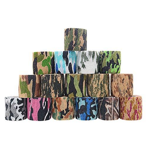 PUDSIRN 16 Rolle Selbstklebende Tarnung Band, Elastische Wiederverwendbar Klebebinde Camouflage Klebeband für Jagd, Messer, Teleskop, Fahrrad oder Bandage Wundknöchelstütze (4.5m)