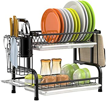 GSlife 304 Stainless Steel 2 Tier Dish Rack with Trays amd Utensil Holder