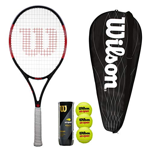 Wilson Federer Pro - Raqueta de tenis con funda y 3 pelotas de tenis (tamaño 3, 4 1/4')