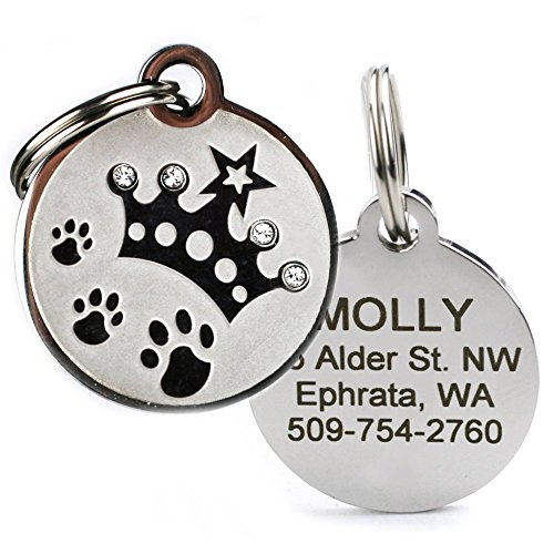 GoTags Designer Pet ID Tags in Stainless Steel for Dogs and Cats, Custom Engraved with 4 Lines of Personalized ID, Cute, Unique Pet Tags in Several Fun Designs