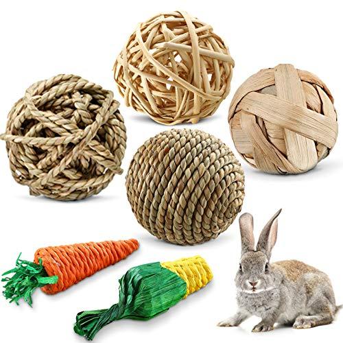 Xionghonglong 6 Stück Kaubälle,Kleintiere Kauspielzeug,Heu Ball Kauspielzeug,Kleintierspielzeug Ball,Kaninchen Ball,Kauspielzeug Grasball,Kauspielzeug Grasball,Grasball Für Kaninchen,Hasen Spielzeug
