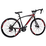 Begasso Shimanos Aluminum Full Suspension Road Bike 21 Speed ??Disc Brakes, 700c Wheel Suspension Fork Rear Suspension Bicycles for Intermediate to Advanced Riders (Red)