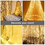 Led Lichtervorhang für Weihnachten 300 leds sterne Lichterkette weihnachtsdeko Innen Außen Garten Fenster deko Innenbeleuchtung warmweiß 3x3m - 2