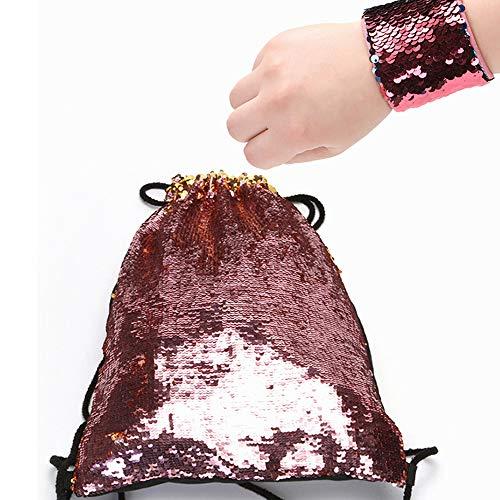 Fashion Mermaid Drawstring Bag, Sac à Dos à Sequins, Réversible Parent Enfant Sac de Sirène pour l'extérieur des Sports Voyage Randonnée des Sports