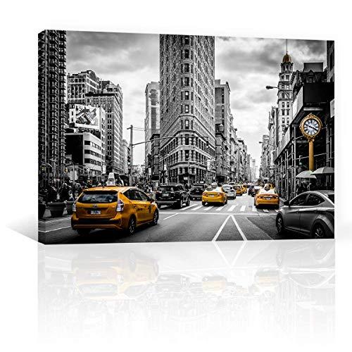 CANVAS REVOLUTION | Cuadro Decorativo Canvas Lienzo Impresión | Urbano | Nueva York Y Taxis Amarillos | Diferentes Dimensiones...