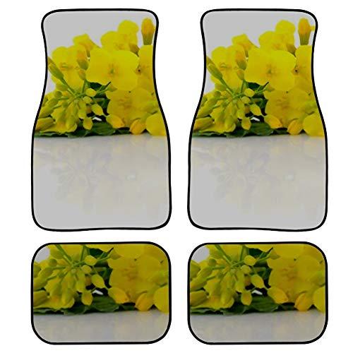 Auto Fußmatten Senf Blumenblüte Raps Ölsaaten Raps Druck Design Teppich Auto Geländewagen LKW Fußmatten 4 Stück, Senf Blumenblüte Raps Ölsaaten Raps