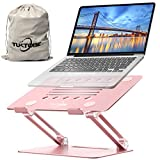 TUKTOBE Laptop Stand, Ergonomic Height Angle Adjustable Laptop Holder Aluminum Notebook Stand Riser with Heat-Vent Computer Stand for Desk Compatible with MacBook Air Pro, Dell XPS, Lenovo (Pink)