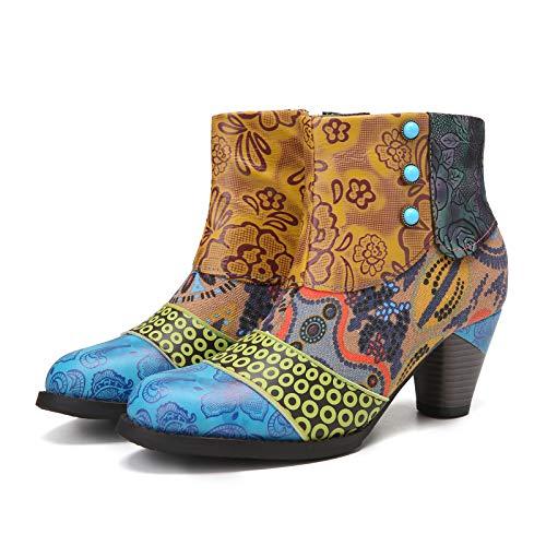 Camfosy Botines Tacones de Cuero, Zapatos de Invierno Tacón Alto Botas Vaqueras cómodas Botas con Cremallera Vestida Color Original Bohemio 2019