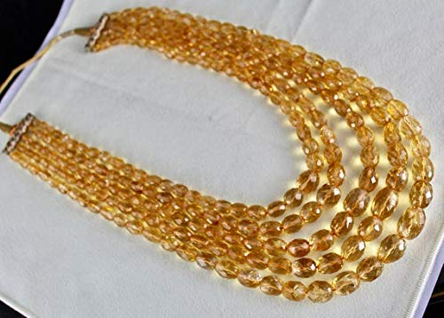 LOVEKUSH 50% Off Gemstone Jewellery 5 Line NATURAL CITRINE FACETTED Oval Beads Necklace 16 INCHES 16 MM TO 6 MM Code:- RADE-46284