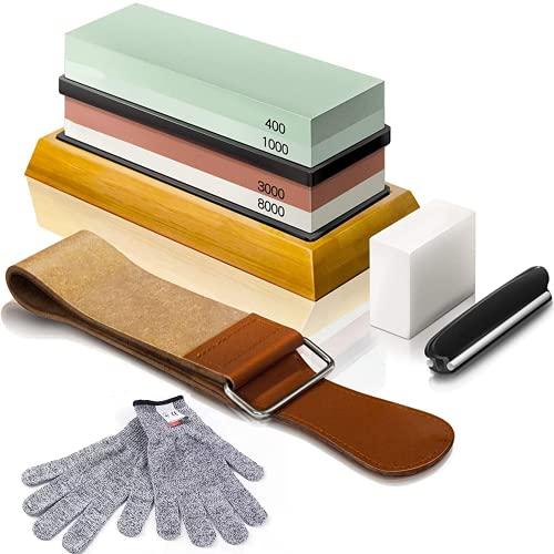 Abziehsteine Set, Doppelseitig 400/1000 und 3000/8000 Grit Schleifsteine mit Abrichtstein, Winkelführung, Bambusbasis, Lederstreifen, Handschuhe, für Küche Metallklinge schärfen und Polieren