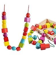 Lewo Perline in Legno di Grandi Dimensioni per Bambini Giocattoli educativi Montessori 30 Pezzi con 2 Corde #3
