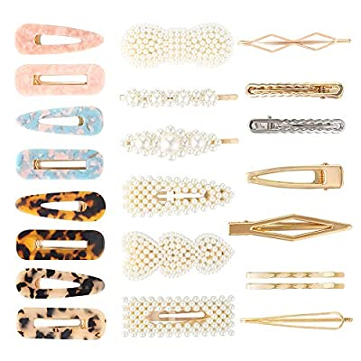 Tingyuan Pearls Hair Clips, Resin Hair Barrettes, Fashion Hollow Geometric Hair Clip, Decorative Gold Hair Pins for Women Girls, Hair Accessories Set Headwear Styling Tools (22 PCS)