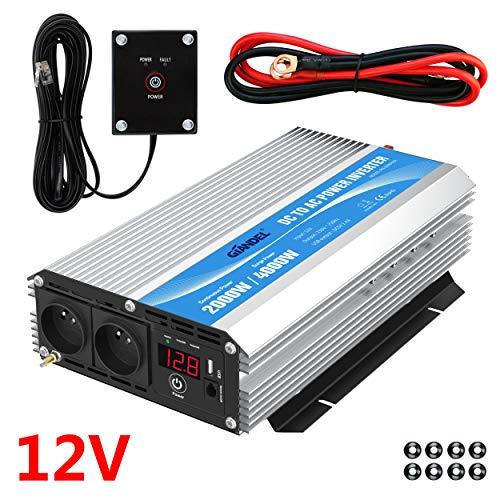 Onduleur 2000W Convertisseur 12V 220V 230V avec télécommande et Dual AC Prises de Courant pour Voiture de Camion de Camping-Car GIANDEL