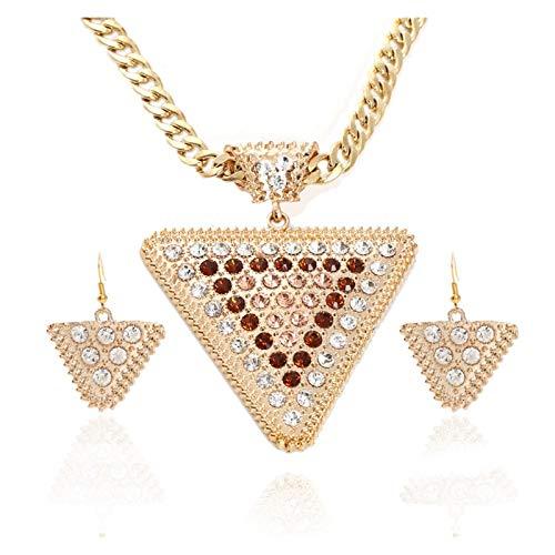 ZCPCS Europa y los Estados Unidos Pendientes Colgantes exagerados Geométricos Triángulo Diamante Juego de joyería de Alto Grado Bloqueo Collar Grueso (Color : A)