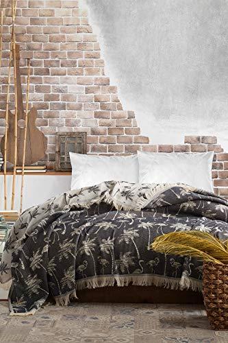 BOHORIA Tagesdecke extra groß 220 x 240cm | 100% Baumwolle | Überwurf für Sofa, Sessel & Bett | Kuscheldecke Sofadecke Wolldecke Wohndecke (Palm)