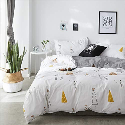 FenDie Cute Bedding Kids Duvet Cover Set, Deer and Tree Print Queen Size Bedding Set, White Gray...