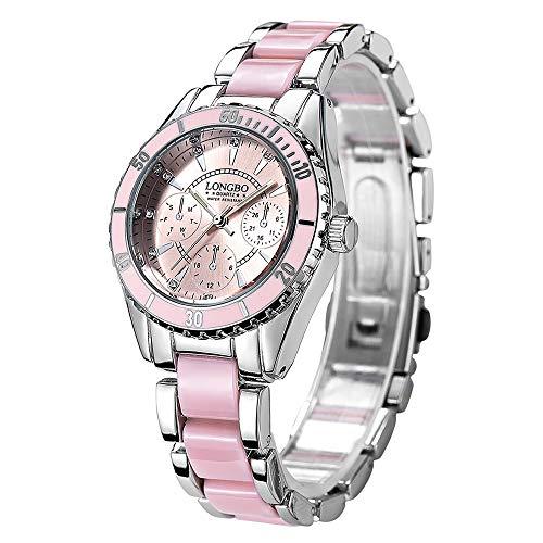 Taladro de Agua Watch LONGBO 4511 Tres pequeñas marcaciones Reloj de Cuarzo for Mujer con Correa de aleación y cerámica (Rosa) ZHU Taladro de Agua Reloj (Color : Rosado)