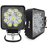 Safego 27 W Projecteur LED Lampe de travail Lampe 12 V 24 V Offroad haute puissance pour camion 4 x 4 ATV tracteur 60 degrés 27 Ws-fl Lot de 2