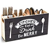 Rustic Wood Kitchen Utensil Holder (4 Compartments)