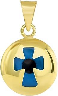 14k Yellow Gold Small Blue Evil Eye Religious Cross Pendant (18.5mm x 12.4mm)