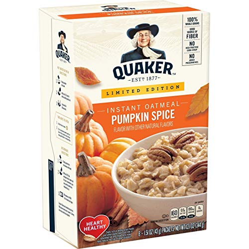 Quaker Pumpkin Spice Instant Oatmeal, 8 Ct (Pack of 4)