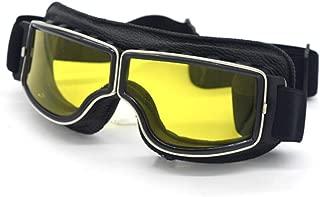 Rafgkrygl Universal Motorcycle Vintage Goggles Pilot Motorbike Scooter Biker Glasses Steampunk Goggles for Harley Helmet