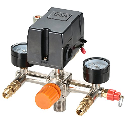 Secbolt Pressure Switch Manifold Regulator Gauges Air Compressor Pressure Switch Control Valve 90-120PSI (Horizontal Switch)