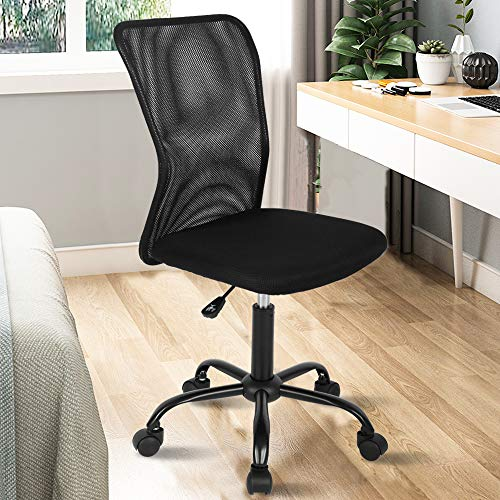 Ergonomic Desk Chair Mid Back Mesh Chair Height Adjustable Office Chair, Home Office Chair Modern Task Computer Chair No Armrest Executive Rolling Swivel Chair with Casters, Black