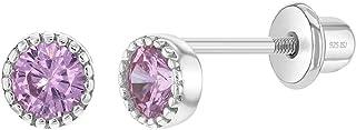 925 Sterling Silver Round Bezel Pink CZ Screw Back Earrings for Infants Girls