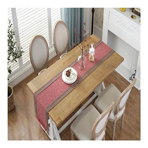 Gu3Je Home Breite Baumwoll-Leinen-Tischläufer Hauptdekoration Home (Color : Red, Size : 38x200cm)