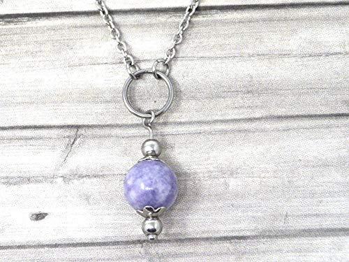 Gargantilla de acero inoxidable para mujer con anillos y cuentas de cuarzo azul