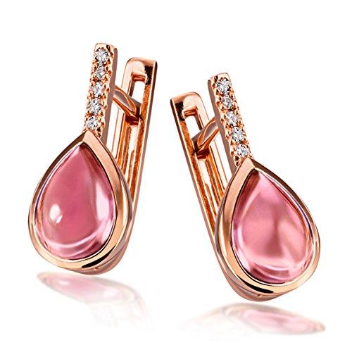 Goldmaid Damen-Creolen Turmalin 585 Rotgold Turmaline pink Tropfenschliff Diamant (0.04 ct)-Fa O7322RG Ohrringe Schmuck