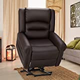 Esright Power Lift Recliner Chair for Elderly, Faux Leather with Rivet Design Electric Recliner Chair with Heated Vibration Massage, Side Pockets & USB Port, Dark Brown