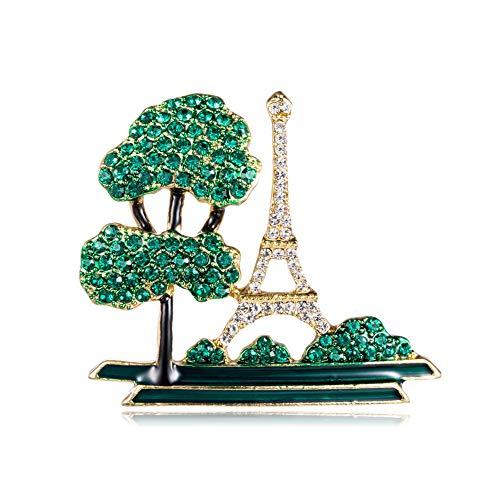 Yazilind Frauen Baum, Eiffelturm Gebäude Broschen süße Pflanze Anstecknadeln Abzeichen Schmuck Geschenke für Schal, Krawatte, Hut, Mantel oder Tasche