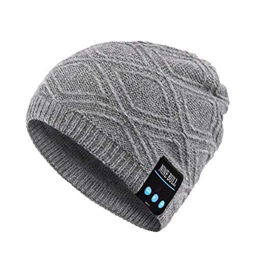 LIOOBO Touca de inverno, aconchegante, elegante, chapéu de tricô, criativo, moderno, com speaker e microfone, para mulheres e homens